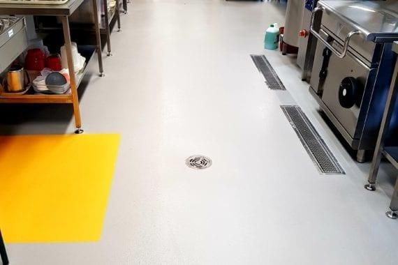 floor coating in commercial kitchen