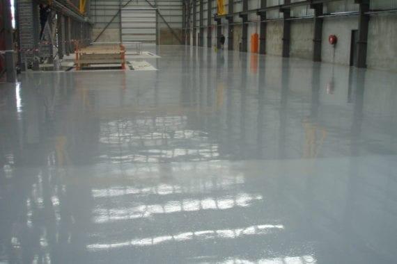 floor coating inside large industrial unit