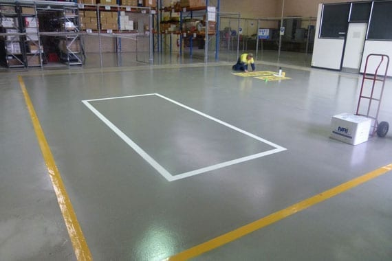 applying safety lines to the floor