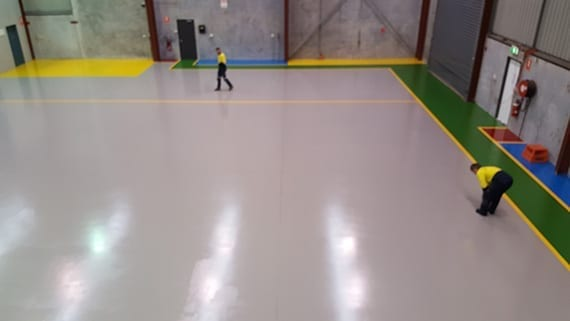 large industrial space with floor coating