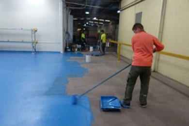 applying flooring coating and painting