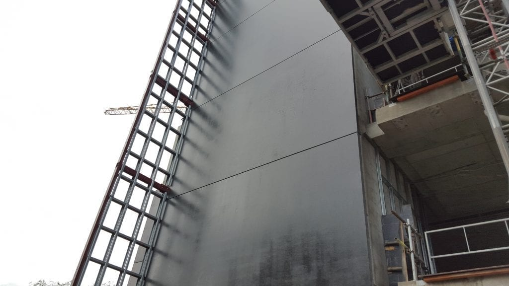 wall coating on large building
