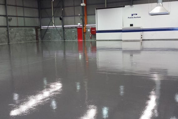 large industrial area with coating on floor